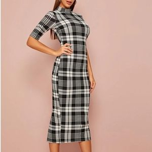 Shein plaid high neck dress, size XL